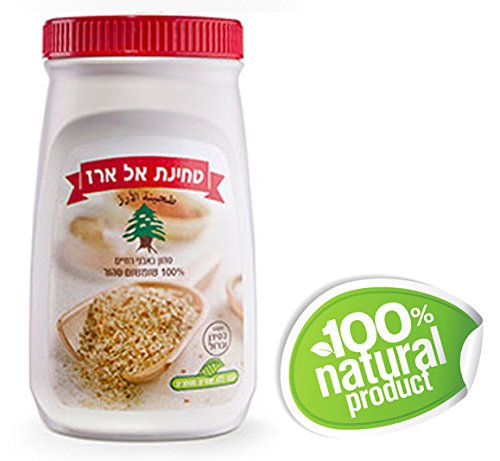 Zuckerman 100% Pure Tahini Sesame Seed Paste – Al Arz Elarz Brand All Natural -Traditional Middle Eastern Taste -Delicious Nutty Flavor Made from Freshly Ground Raw Sesame Seeds ONLY!- 17.6oz/500gr