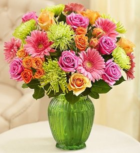 1-800-Flowers – Vibrant Blooms Bouquet – Double Bouquet with Green Vase