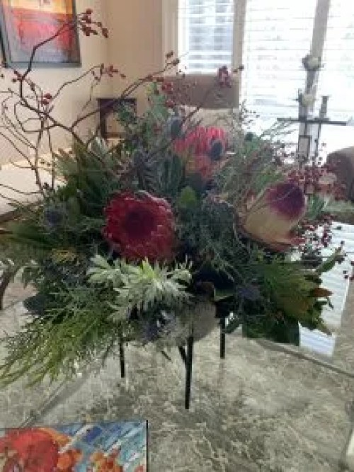 red protea centrepiece