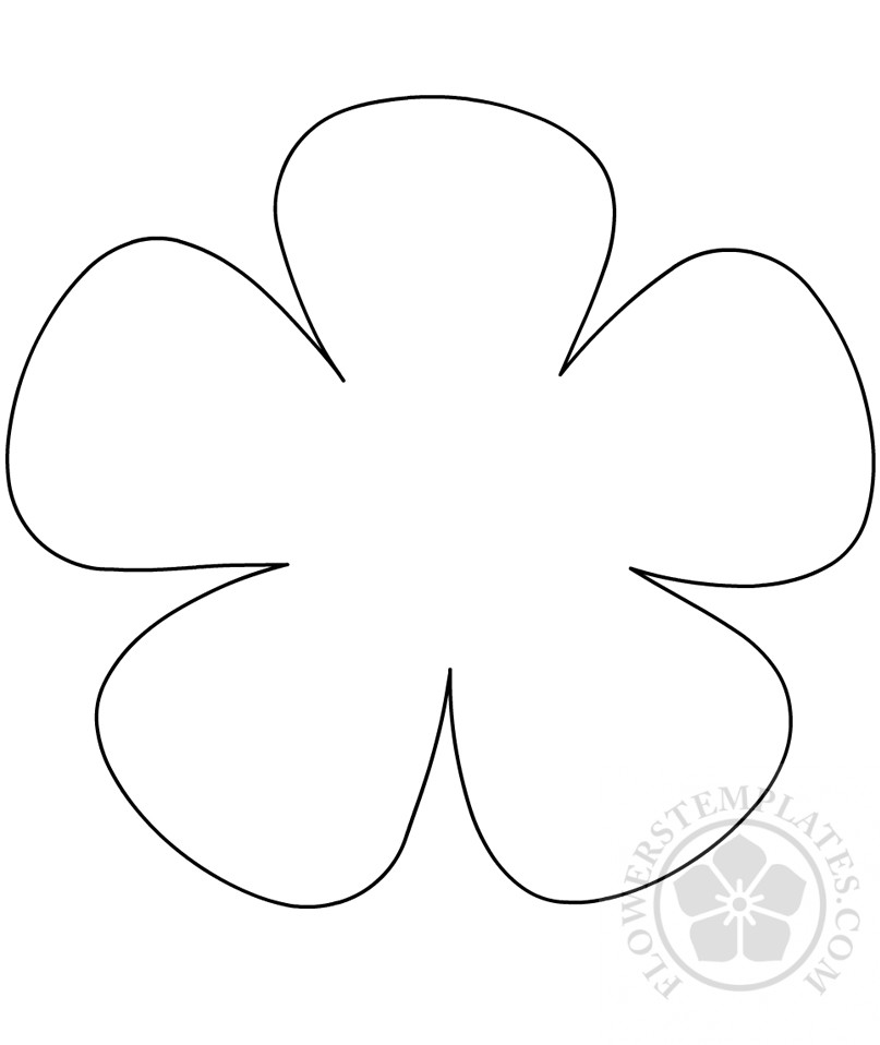 picture relating to 5 Petal Flower Template Free Printable named 5 leaf flower template