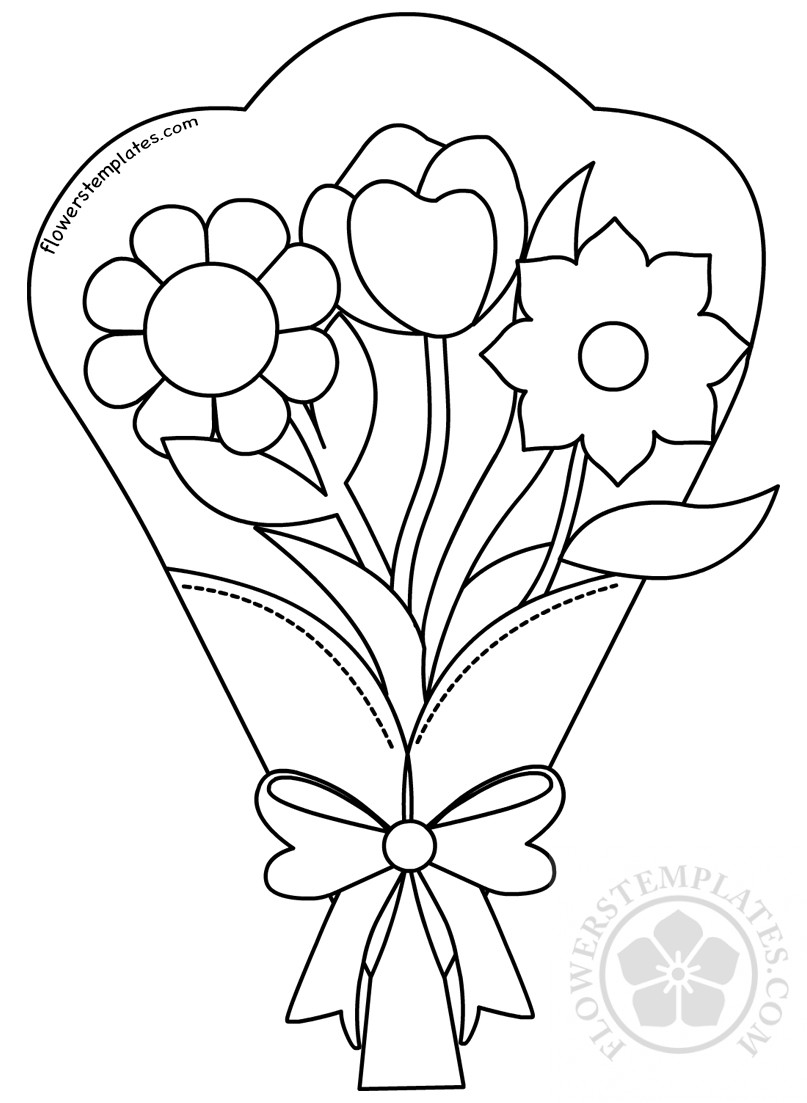 Flower Bouquet Clip Art Black And White
