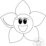 Cartoon Outlined Happy Flower