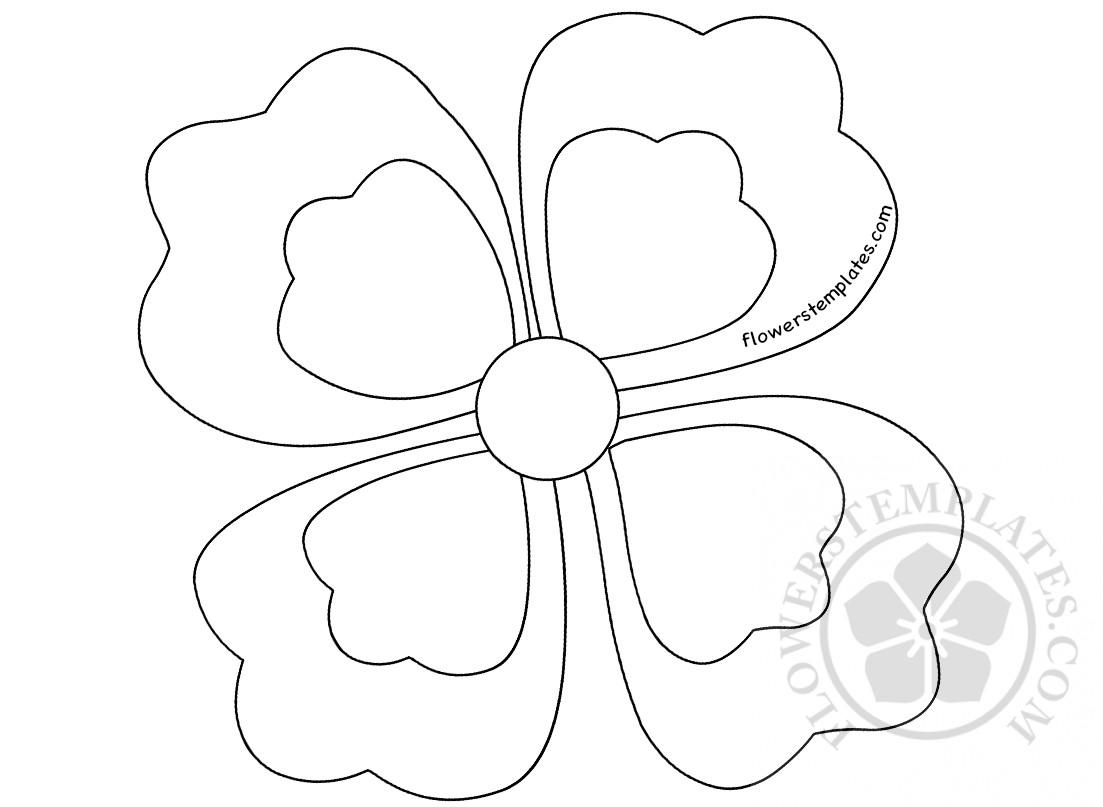 Four Petal Flower Coloring Page Flowers Templates