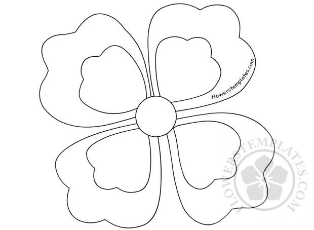 Four Petal Flower coloring page | Flowers Templates