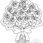 Bunch of roses with bow coloring page