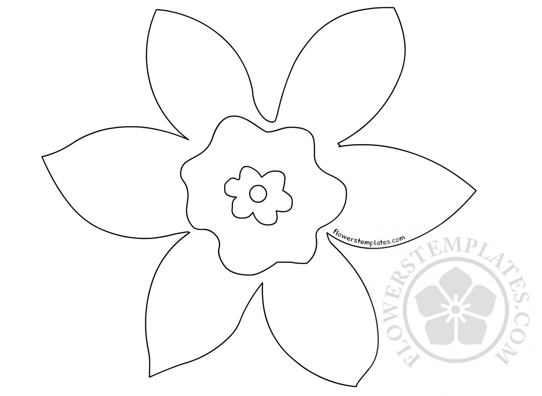 Daffodil template coloring page flowers templates for Template of a daffodil