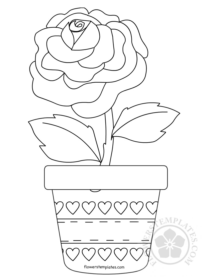 Rose Flower in Pot coloring page