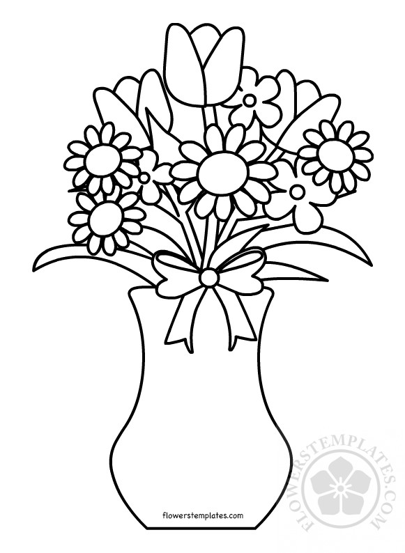 Bunch Of Flowers In A Vase Coloring Page Flowers Templates