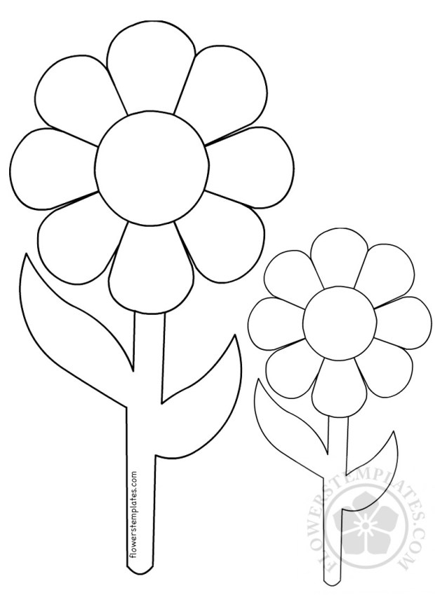 Big and small flowers coloring page | Flowers Templates