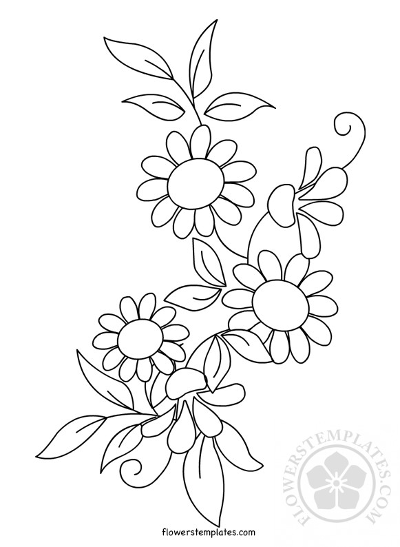 image relating to Printable Flower Pattern identified as Floral Routine Embroidery printable Bouquets Templates