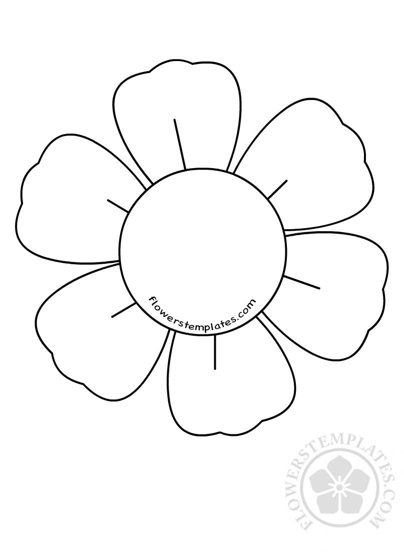 6 petal flower template cuttable