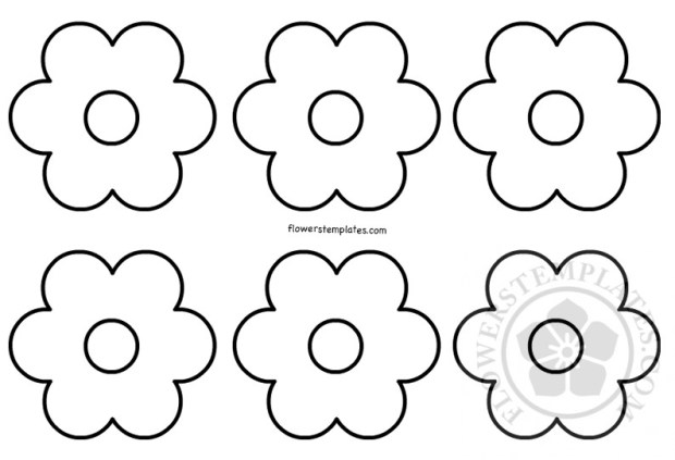 Set Of Simple Flower Shapes Coloring