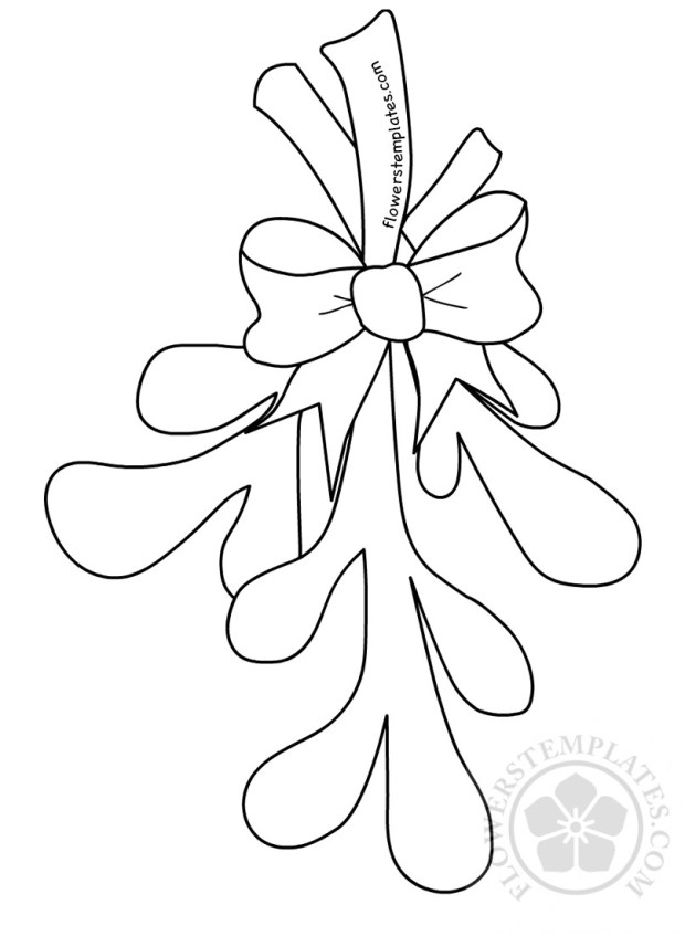 christmas mistletoe with bow template flowers templates