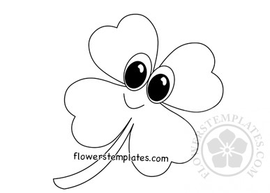 Cute Four Leaf Clover Coloring Page Flowers Templates
