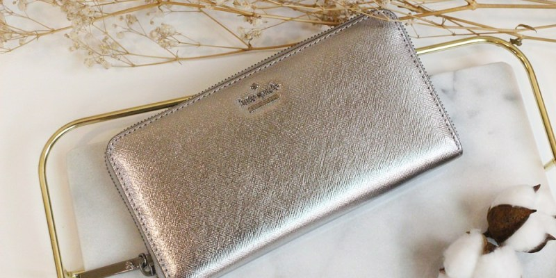 【戰利品開箱】Kate Spade New York金屬質感銀灰色長夾