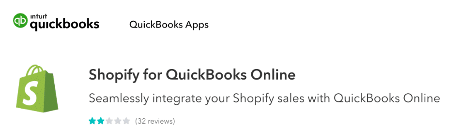 QuickBooks own integration app for Shopify