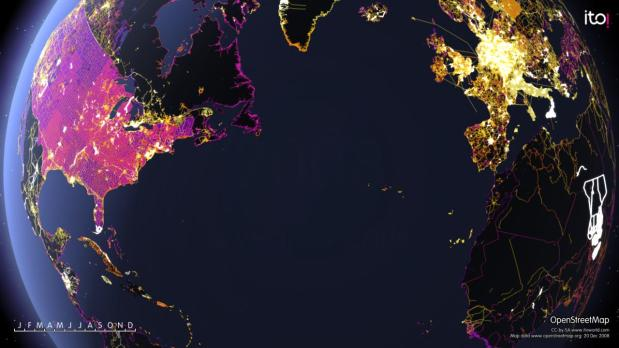 animated map shows one year of edits to openstreetmap flowingdata