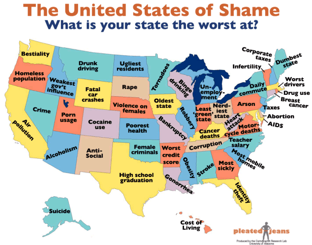 What Is The Map Of The United States.What Your State Is The Worst At United States Of Shame Flowingdata