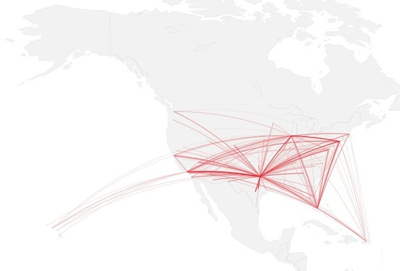 How to map connections with great circles | FlowingData