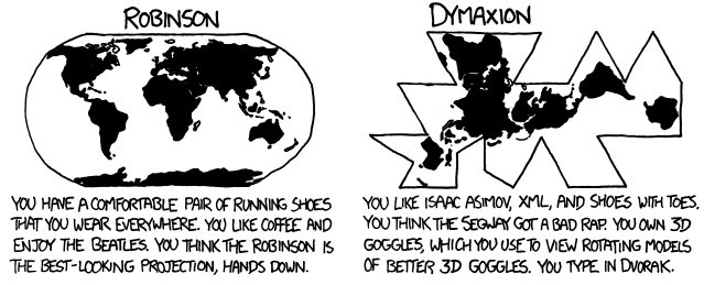 What your favorite map projection says about you | FlowingData