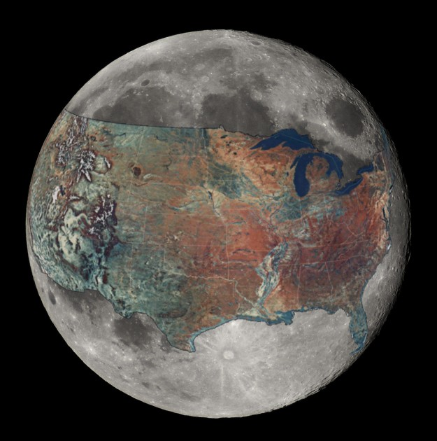 US overlaid on the Moon for a sense of Scale