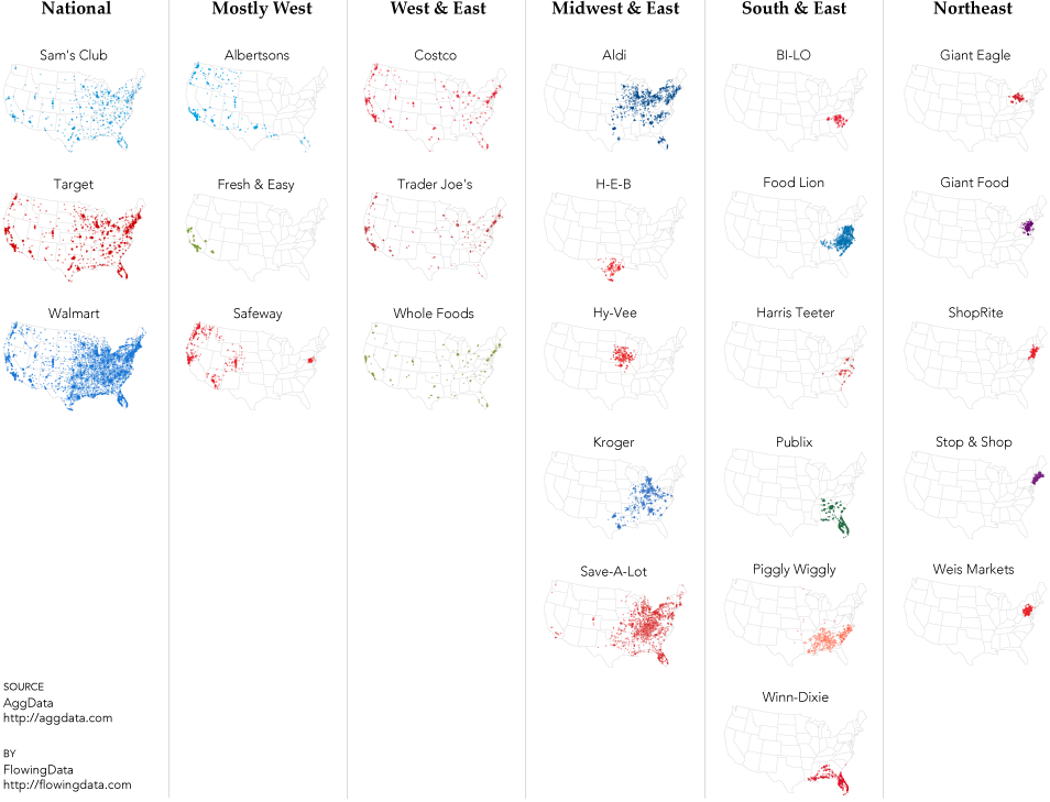Grocery Store Geography FlowingData - Map of kroger stores in us