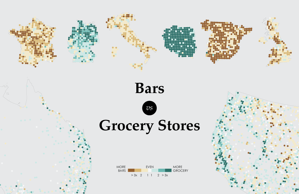 Where Bars Outnumber Grocery Stores FlowingData - Map of bars in us