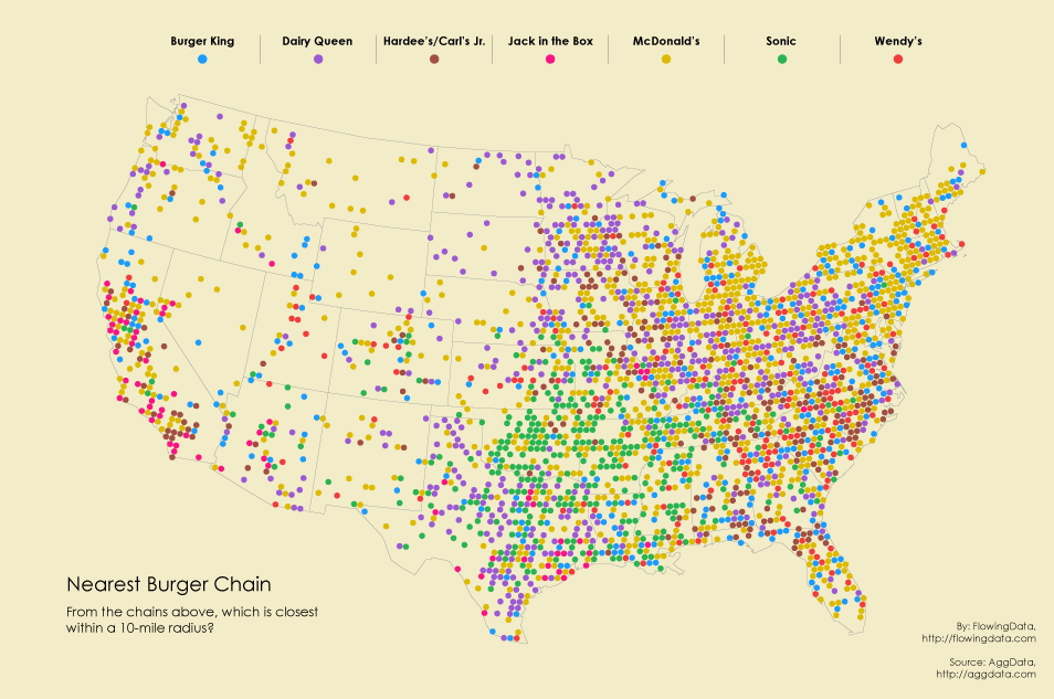 Burger Place Geography FlowingData - Burger map us