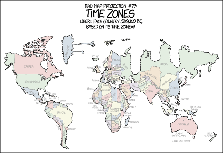 xkcd: Projecting country borders by time zone | FlowingData