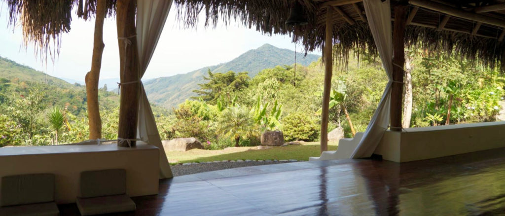 The view from inside the practice hall at our retreat center in Costa Rica.