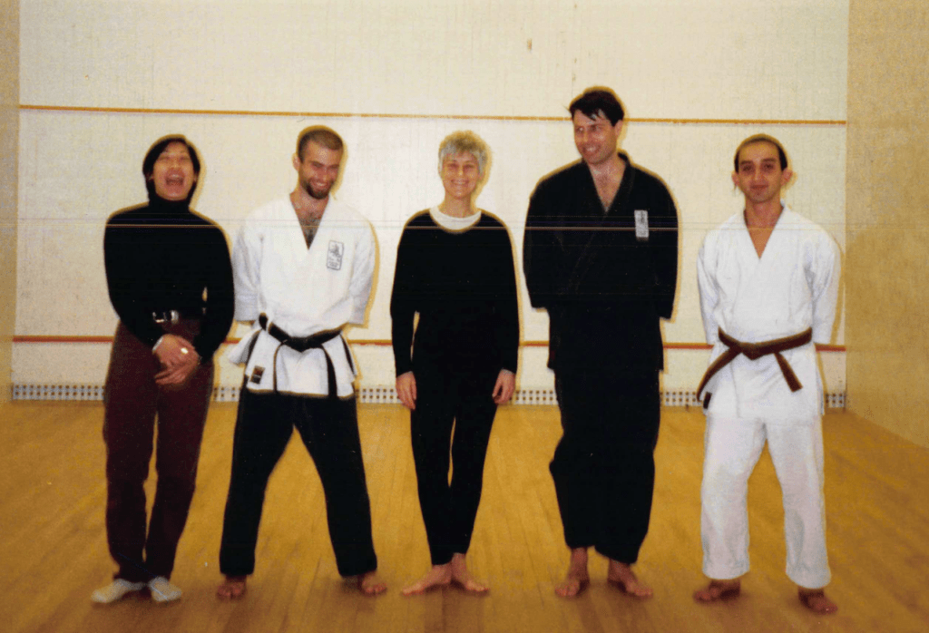 A rare image of me with my first teacher, Sensei Bonnie Baker (middle).