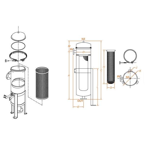 disegno tecnico filtro a sacco Eco Flowise