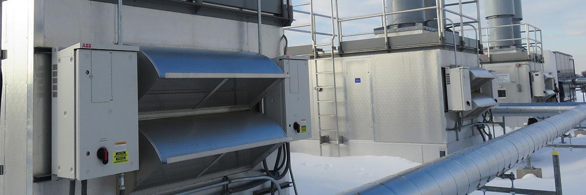 ABB VFDs servicing rooftop AHUs