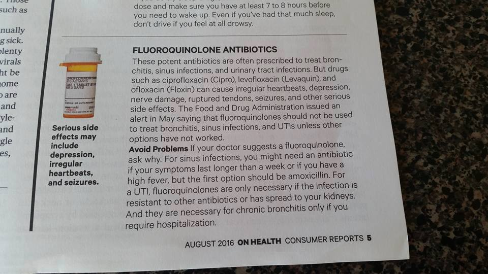 Consumer Reports Warns Patients About Fluoroquinolone Dangers