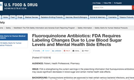 Fluoroquinolone Warning Labels Updated to Include Low Blood Sugar Levels and Mental Health Side Effects