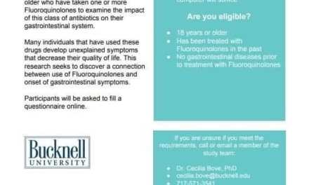 Bucknell University Study Regarding GI Issues and Fluoroquinolones