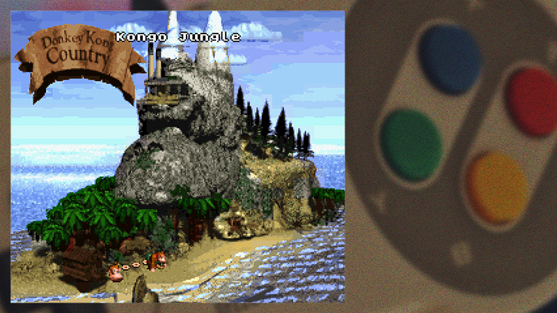 SNES controller background with Donkey Kong Country being played