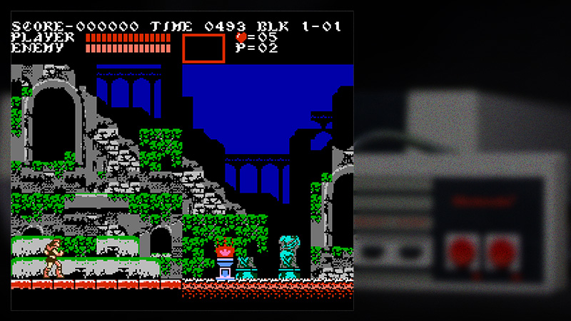 nes controller background showing Castlevania 3 being played, No camera shown.