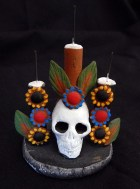 Skull with cacti and flowers