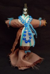 """Inflicts harm on enemies, by sticking pins on the doll that represent places on enemy's body-New Orleans, Louisiana, USA/Caribbean-Afro/Carribbean-Cloth/String/Beads/Yarn-8 1/2"""" tall"""