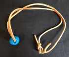 Leather necklace with bright blue stone