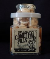 "To commemorate the sighting of Halley's comet in 1986-Los Angeles, California (Sold by Griffith Park Observatory)-American/Pop culture-Glass jar/candies-3 1/2"" x 2"""