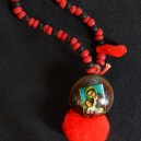 """Protection-Mexico/USA-Mexican/Indigenous-Velvet bean or cowhage (Mucuna pruirens), red pom pom, photo of Mary and Jesus-4"""" long"""