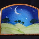 """Pastoral scene with moon and stars for decoration.-England-Pop culture-Enamel on ceramic-3 1/2"""" x 4 1/4"""""""