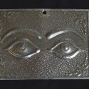 """Affixed to saint-Requests cure for eyes/Gives thanks for cure for eyes-Mexico/USA-Roman/Catholic/Latino-Tin-2 1/4' x 3"""""""