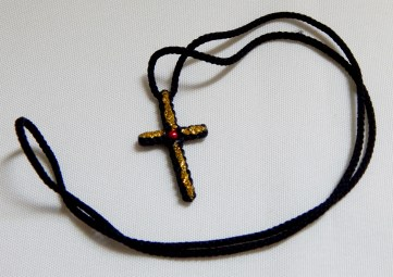 "Sign of Christianity/Protection-Global-Christian-String with gold glitter-11"" long-cross 1 1/2"""