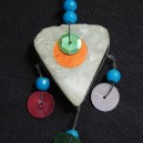 "Protection from Evil Eye-Lebanon? Syria?-Middle Eastern-Blue beads/Heart-shaped crystal/Sequins-2 1/2"" x 1 1/2"""