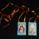 "Worn for protection and blessings. Dedicated to various saints denoted by different colors-Global-Roman Catholic-Cloth/Thread/Ribbon-27"" long-each scapular 2 1/4"" x 1 1/2"""
