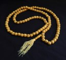 "Prayer counter, meditation-Tibet-Buddhism-108 wooden beads with design and tassel-31"" long-each bead 1/4"""