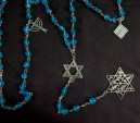 """Prayer counter-USA-Non-traditional-Silver/Glass beads-Matzo-1/2"""", Menorah 3/4"""""""